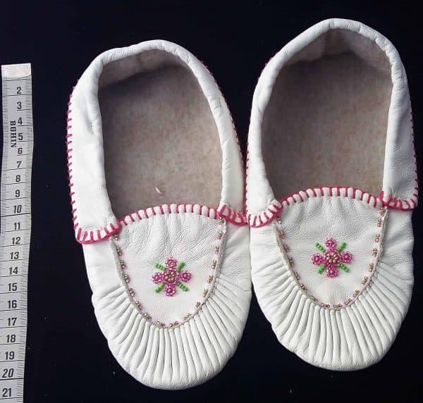 36 mocassin blanc fleurose enfant